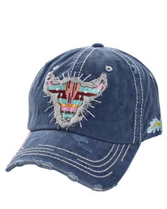 Longhorn Steer Skull Serape Aztec Baseball Cap Hat Black Pink or Navy Blue