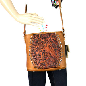 Trinity Ranch Montana West Horse Tooled Leather Messenger Hipster Purse Brown