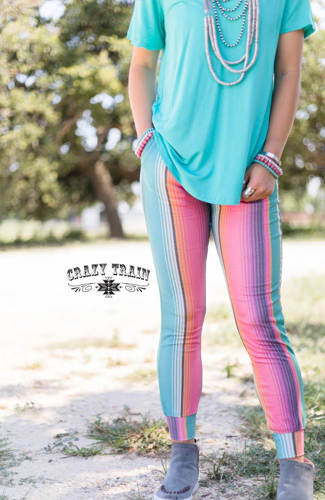 Crazy Train Serape Aztec Sports Athletic Yoga Workout Leggings Pants Blue Pink