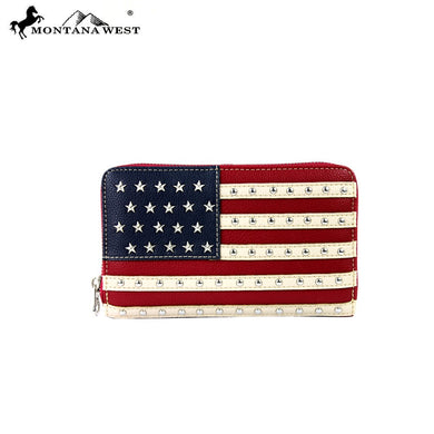 Montana West USA American Flag Star Stripes Patriotic Wallet Red White Blue