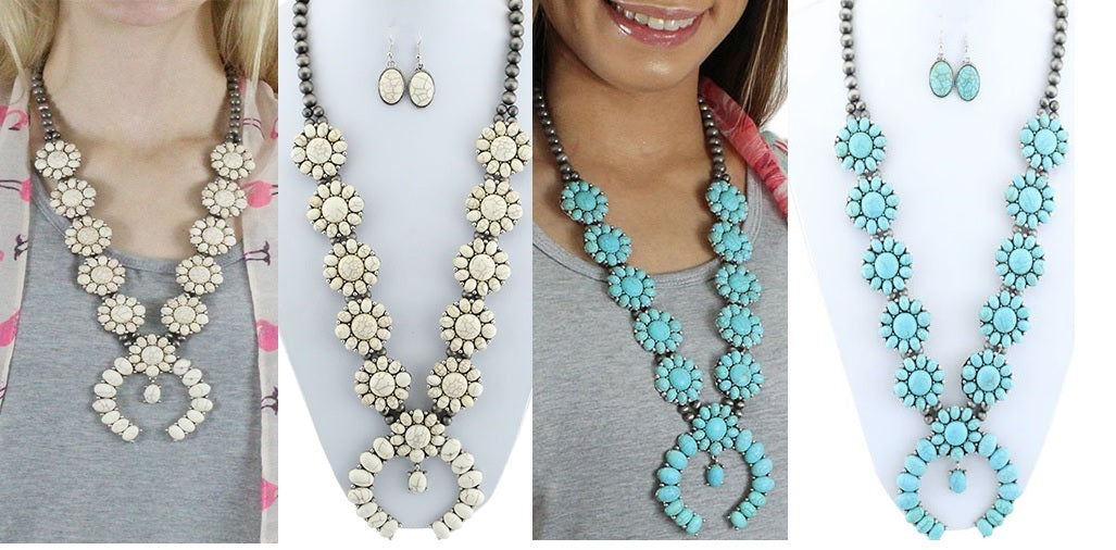 Aztec Hippy Southwest Necklace Earrings Set Squash Blossom Western Jewelry