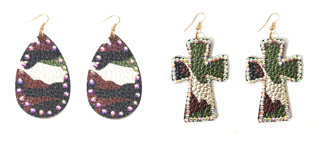 Camo Womens Bling Earrings AB Rhinestone Jewelry 3 Inch Green Brown Gold Cross or Oval