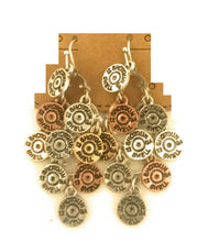 "2"" Faux 12 GA Gauge Shotgun Shell Bullet Layered Cowgirl Earrings Patina or Copper"