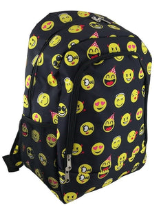 "16.5"" Girls Boys School Camp Book Bag Kids Backpack Emoji Smiley Face Black Pink"