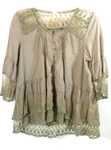 Lady Noiz Button Up Lace Pleated Ruffle Tunic Shirt Top Brown Tan 1XL or 2XL