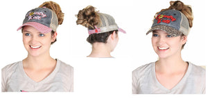 Country Yall High Ponytail Bun Vented Trucker Cap Hat Red Black Gray Cheetah Leopard