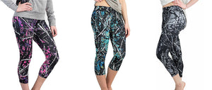 Muddy Girl Serenity Harvest Moon Camo Workout Leggings Capris Pants Purple Pink Blue or Black