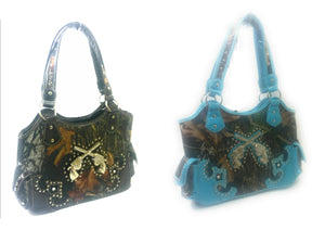 Camouflage Camo Western Rhinestone Gun Shoulder Bag Purse Blue or Brown