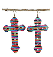 Leatherette Serape Aztec AB Rhinestone Light Weight Earrings Cross or Oval