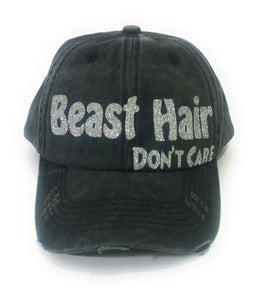 High Ponytail Bun Distressed Baseball Cap Hat Black Beast Hair Dont Care