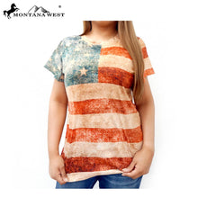 Montana West USA American Flag Patriotic Star Ladies Junior Western Shirt S/S Top