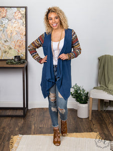 Aztec Serape Hippy Western Ladies Cardigan Knit Jacket Fall Blue