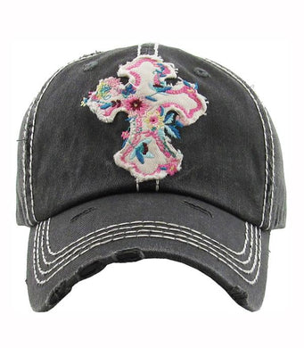KB Adjustable Pink Flower Cross Baseball Cap Womens Ladies Floral Hat