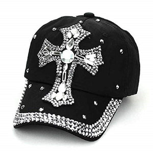 Adjustable Womens Bling Rhinestone Cross Cap Hat Black