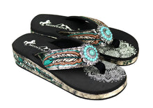 Montana West Flip Flops Rhinestone Womens Feather Sandals Black Turquoise Concho or Cross