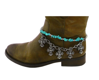 Rhinestone Cross Bling Charm Western Cowgirl Boot Jewelry Strap Anklet Turquoise