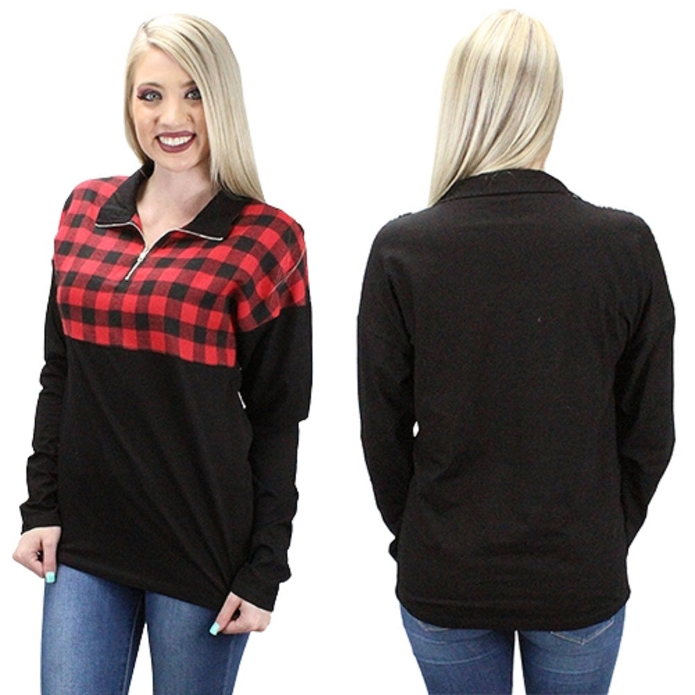 Buffalo Plaid Zipper Pullover Shirt Top Holiday Clothing Red Black