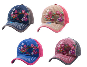 Adjustable Distressed Vintage Western Baseball Cap Hat Flower Butterfly