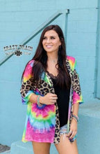 Crazy Train Leopard Cheetah Cardigan Lightweight Jacket Free Spirit Hippy Cover Up Blue Pink