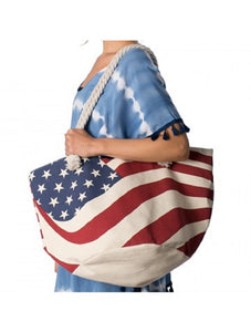 USA Flag American Patriotic July 4th Stars Stripes Large Tote Shopper Beach Purse Red White Blue