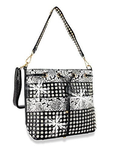 HX Party Bling Flower Floral Drawstring Rhinestone Messenger Bag Cross Body Purse Silver
