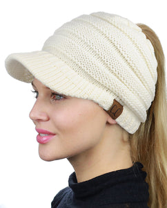 CC  Fall Winter Womens Messy High Bun Ponytail Beanie Tobaggan Skully Visor Hat Cap