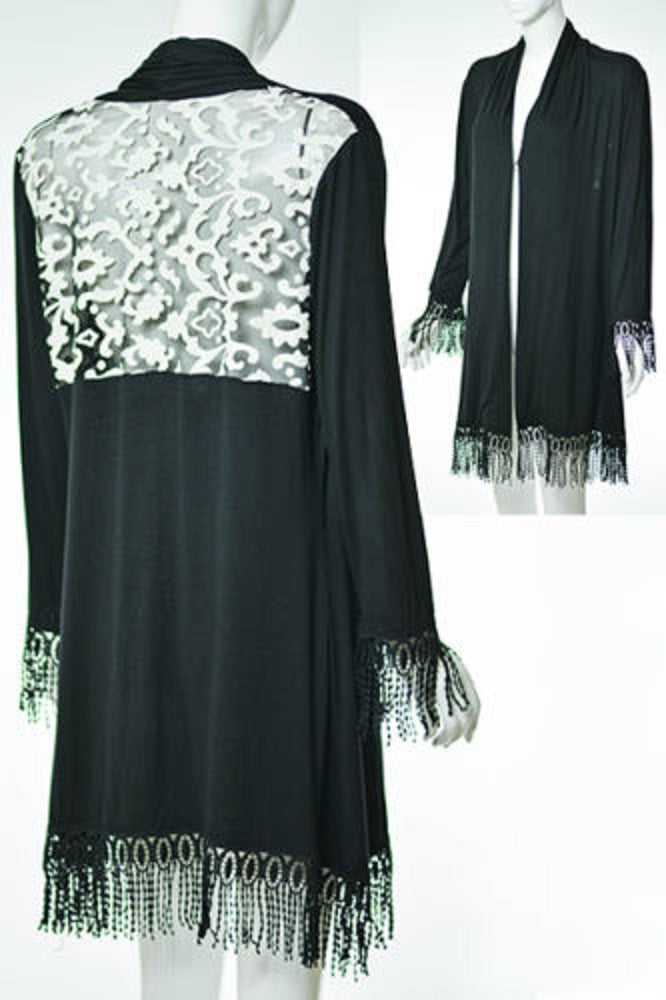 Lady Noiz Lace Ruffle Tunic Shirt Top Tunic Plus Cardigan Black 2XL