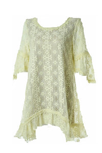 Lady Noiz Floral Flower Lace Short Sleeve Ruffle Tunic Shirt Top Blouse Beige (1XL)