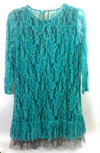 Lady Noiz Lace Overlay Crochet Tunic Shirt Top Dress Brown Turquoise Teal Blue 1XL