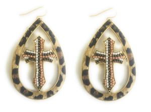 "Bling Cross Earrings Womens Western Aztec Jewelry 2.75"" Leopard Cheetah r Serape"
