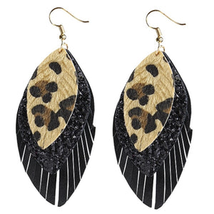 EMMA Cheetah Leopard Earrings Western Jewelry Leaf Feather Bling 4 Inch