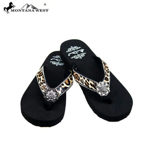 Montana West Leopard Cheetah Thin Sole Rhinestone Concho Flip Flops Sandals