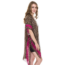 Leopard Cheetah Kimono Womens Cover up Vest Pink