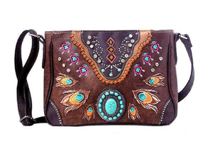 Aztec Turquoise Western Concealed Carry Gun Purse Peacock Feather Messenger Bag
