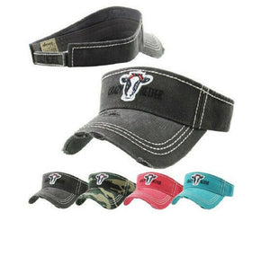 Distressed Crazy Heifer Cow Womens Sun Visor