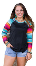 Crazy Train Serape Aztec Western 3/4 Sleeve Shirt Womens Ladies Top Black