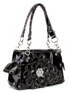 Black Rhinestone Flower Western Bling Purse Shoulder Bag