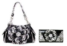 Cheetah Leopard Rhinestone Flower Purse Shoulder Bag Wallet Set Black
