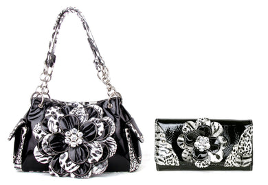 Leopard Cheetah Black Rhinestone Flower Western Bling Purse Shoulder Bag Wallet Set