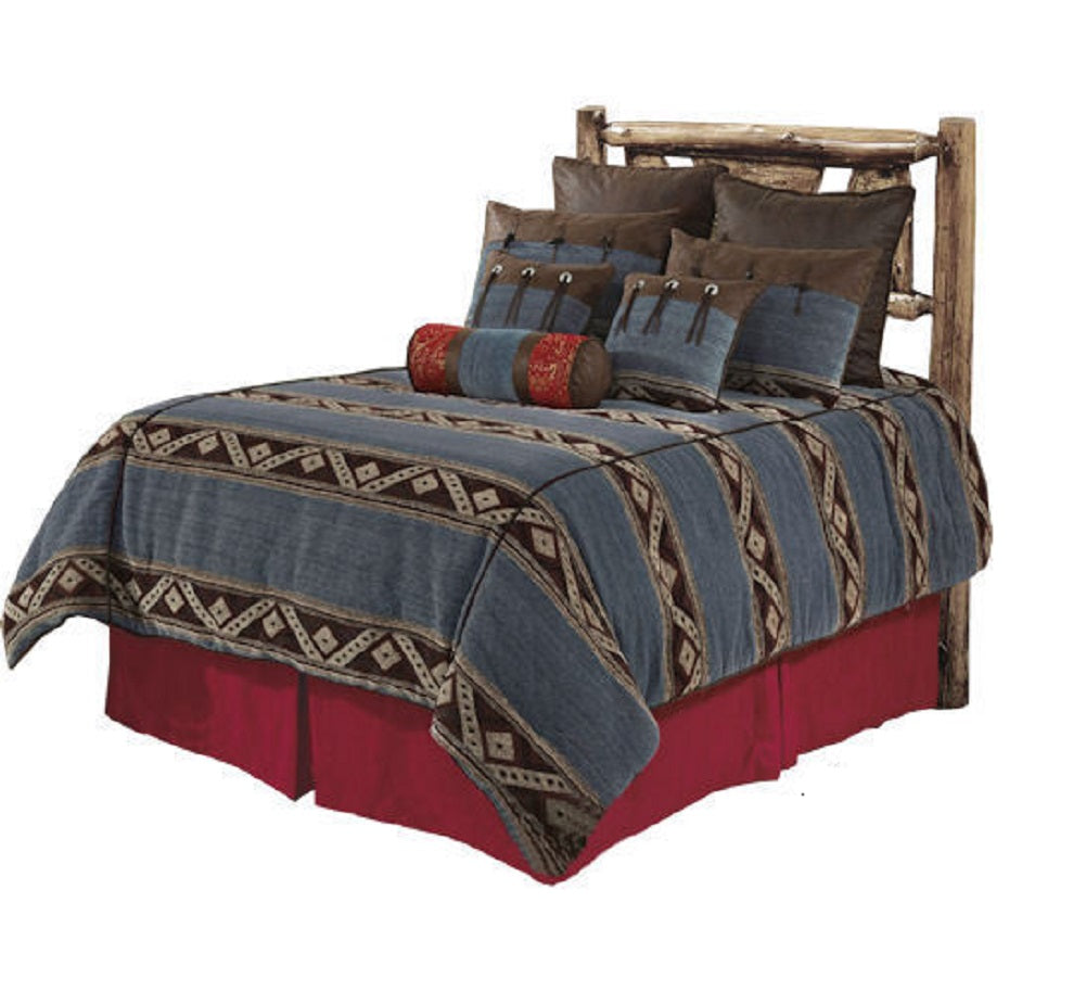 Western Cabin Country Bedding Ranch Decor Comforter Set Blue Jean Brown