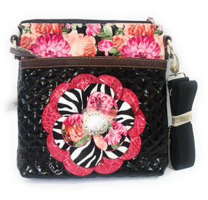 Rhinestone Quilted Layered Zebra Flower Messenger Bag Purse Black Pink