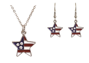 Star Shaped Rhinestone USA July 4th Patriotic American Flag Earrings Necklace Set