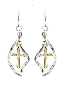 Western Cross Metal Western Cowgirl Fish Hook Earrings Silver Gold Cut Out or Swirl