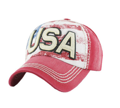 KB Adjustable USA American Flag Patriotic July 4 Memorial Cap Hat Red