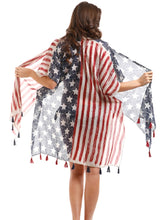 USA American Flag Patriotic Star Stripes Juy 4th Ladies Cover Up Vest