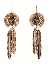 Concho Feather Aztec Hippy Western Earrings
