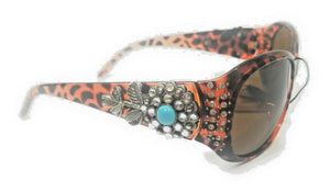Western Ladies Rhinestone Bling Sunglasses Flower Texas or Cross with Cloth Case