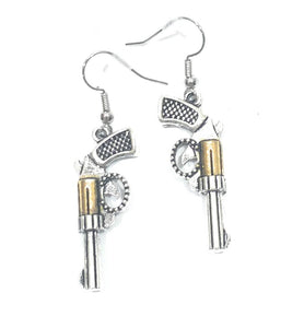 Cowgirl Western Jewelry Silver Gold Silver Plated Gun Pistol Revolver Earrings