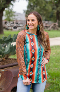 Crazy Train Long Sleeve Shirt Serape Aztec Tooled Womens Clothing Top Turquoise Brown