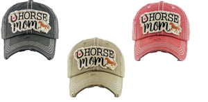 Horse Mom Baseball Hat Horseshoe Cowgirl Western Distressed Cap